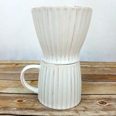 Starbucks Pour Over Coffee Brewer Drip Cone Cup Mug Brewer Brew Ceramic White