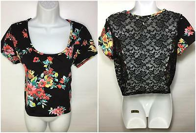 New XL BLK/PINK FLORAL OPEN LACE FISHNET BACK CROP TOP STRETCHY WOMENS SHIRT