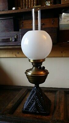 Lovely Antique Victorian Oil Lamp Brass Cast Iron Base - Converted Electric