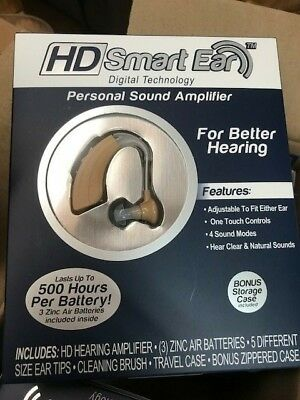 HD Smart Ear Personal Sound Amplifier - 500 Hour Battery Life Hearing Aid NEW