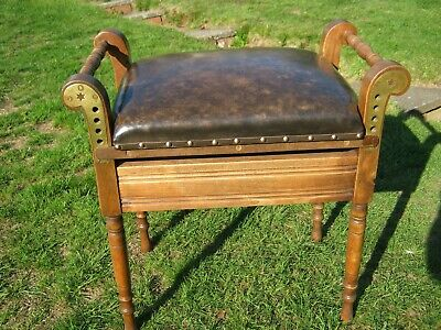 Edwardian Adjustable Piano Stool with Music Storage - Newly Recovered in Leather