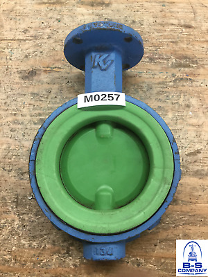"Butterfly Valve 4"" 150 Wafer KEYSTONE Bare Stem Teflon Coated Disc Teflon Seat"