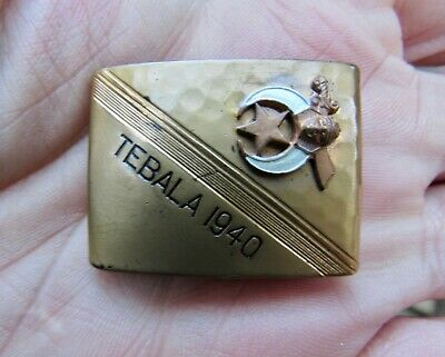 Vtg TEBALA SHRINE Belt Buckle 1940 Masonic GOLD Shriners D'MIOLO Brass RARE VG++