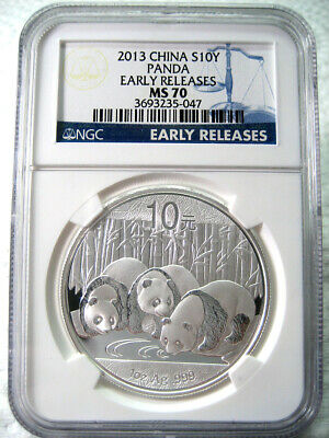 "2013 China 1oz 10Y Panda ""Early Releases"" NGC MS70 Blue Label #047 - GREAT COIN!"