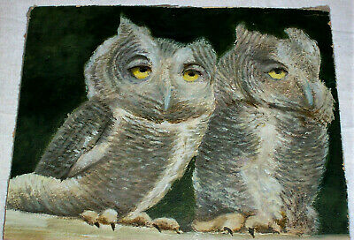Wall Canvas Print Oil painting Picture Animal Owls in a tree on canvas L835