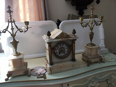 French Marble Mantle Clock By AD Mougin With Matching  candelabra garniture