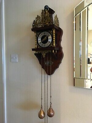 Large Dutch Wall Clock With Weights - Working