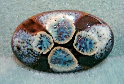Vintage Hand Glazed Abstract Pottery Oval Brooch Pin Black Blue White Turquoise