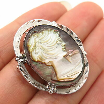 925 Sterling Silver Antique Cameo Victorian Lady Design Pin Brooch / Pendant