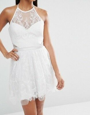 Bnwt Uk 10 Lipsy Ariana Grande Dress Silver Prom Floral Lace