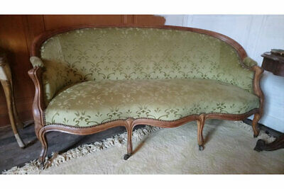Antique French canape sofa with timber show frame