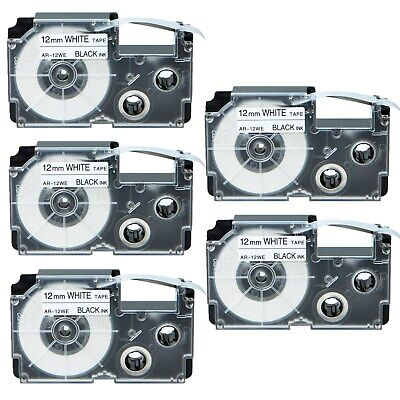 5PK Compatible Casio XR-12WE Black on White Label Tape for EZ Printer KL-1500