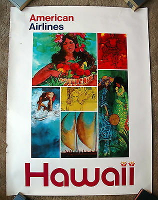 Vintage Original 1970s HAWAII AMERICAN AIRLINES Travel Poster Train air railway