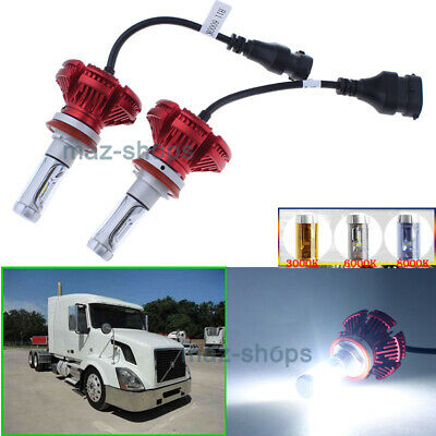 Pair White LED H11 Low Beam Headlight Bulb For Volvo VNL VNM 630 670 730 780