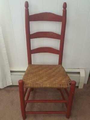 Antique RED Ladder Back Wooden Chair Woven Wicker Seat Primitive Spindles Rustic