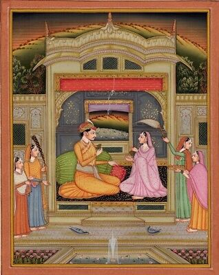 Large Indian miniature Royal scene, gouache and gilt