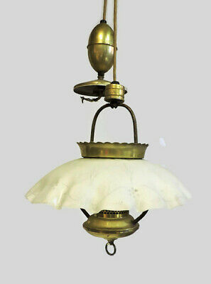 Unique Antique Hanging Brass Chandelier Light Fixture With Glass Shade Globe