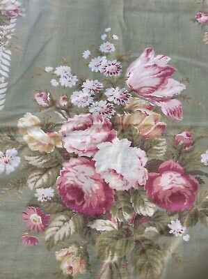 3 Vintage Faded Barkcloth Drapes Panels With Roses Shabby Chic Lined