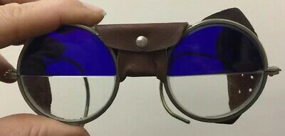 Antique WILLSON Half Blue Sunglasses Goggles Old Retro Safety Glasses Spectacles