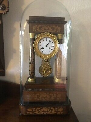 Antique Rosewood Inlaid Clock Under Glass Dome