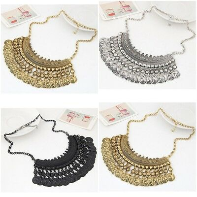 Chic Women Ethnic Gypsy Bohemian Tribal Boho Coin Statement Necklace Pendant OS
