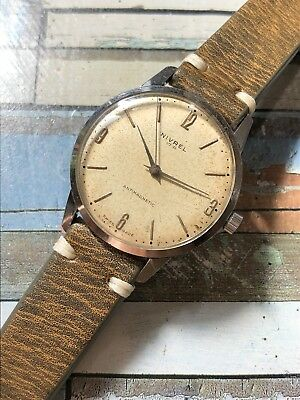 Vintage 1950s Nivrel By Marvin Swiss Made Mens Watch 34mm Manual
