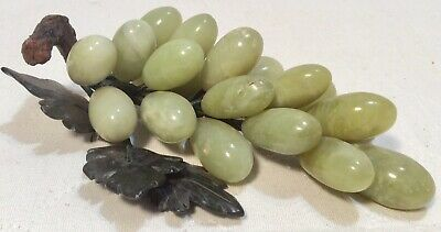 "Vintage Green Stone Grape Cluster With Stone Leaves 7.5"" Long Bendable Stems"