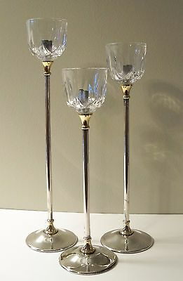 SILVERPLATE & CRYSTAL TALL CANDLE HOLDERS-Set of 3 by ARGENTE ITALY BRASS ACCENT