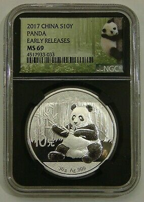 China - 2017 - 30g Silver 10 Yuan Panda - NGC MS 69 -Black Holder Early Releases