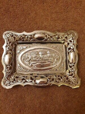 Indian Solid Silver Small Platter/Tray Antique Kutch Floral Ornament 153g