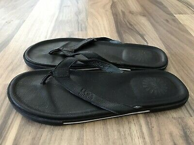6870ab5fc23 UGG AUSTRALIA BENNISON Men Black Leather Flip Flop Sandals Size 11