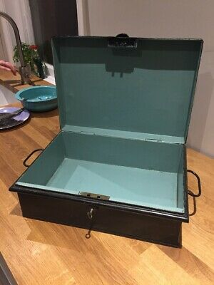 Lovely Lockable Antique Vintage Metal Deed Box For Valuable Documents With Key