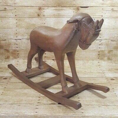 Vintage Carousel Inspired Hand Carved Solid Wood Rocking Horse LOCAL PICKUP ONLY