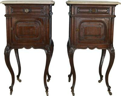 17665 Pair of Marble Top French Nightstands