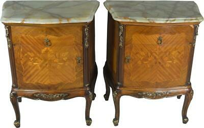17676 Pair of French Onyx Top Inlaid Nightstands