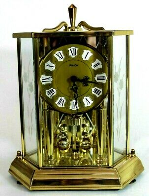 Rare Vintage KUNDO Hexagon Brass Anniversary Clock Made in Germany, Etched Glass