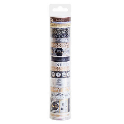 Recollections Planificador Washi Tape 14 Tubo Rollo Negro & Oro Metalizado