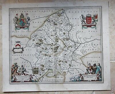 Genuine antique map of Staffordshire by Johannes Blaeu c.1645; early colouring
