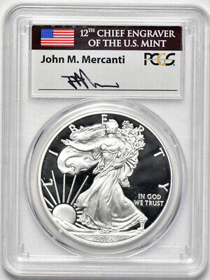 2016 W Proof American Silver Eagle PCGS PR70 DCAM First Day Issue Mercanti Label