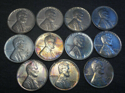 11x 1943 Steel Lincoln Wheat Cent Penny Lot of 11 Great Shape Few Rainbow Tone