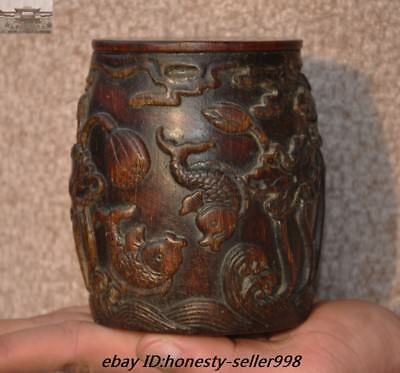 Rare Chinese Old Ox horn Carved mandarin duck Fish Lotus flower Drum shape Boxes