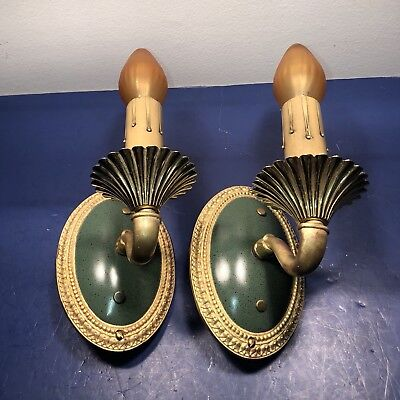 2 Quality heavy cast brass Victorian antique wall sconces Wired Pair Green 30F