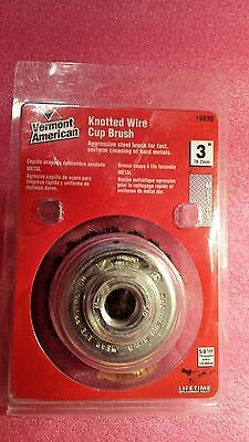 "Vermont American, 16830, 3"" Knotted Wire Cup Brush with 5/8-11 Threaded Arbor"