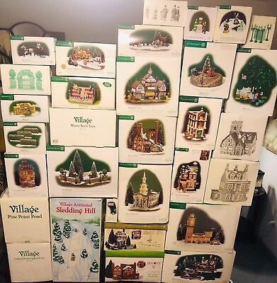 Dept. 56 Dickens Village Lot Of Buildings And Accessories (Brand New & Pre-used)