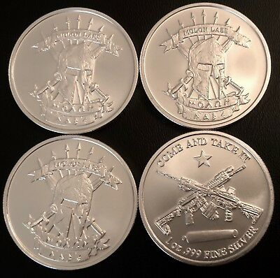Lot Of 4 - 1 Troy Oz Silver Molon Labe Round Bu! .999 Fine Silver