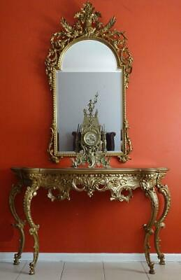 Antique Vintage French Louis XV Bed Room Dressing  Console Table Stand Mirror