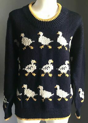 Vintage Boys Handmade Chunky Knit Jumper w White & Yellow Duck Motif Size 10-12