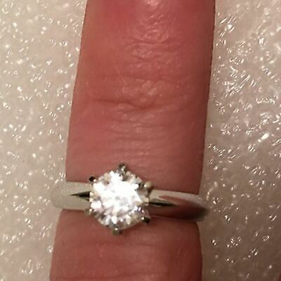 Certified 1Ct Enhanced Diamond Engagement Ring Round Cut 14K Solid White Gold