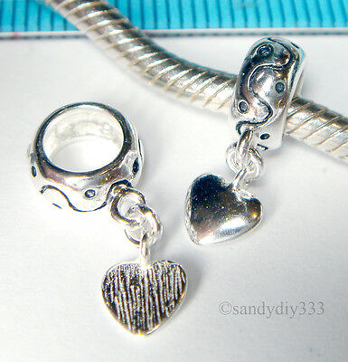1x STERLING SILVER RONDELLE BEAD DANGLE HEART European Chain CHARM SPACER  #1177