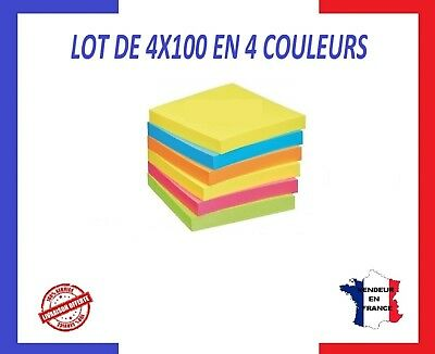 400 STICKERS MEMO STICKY (4X100) 75X75mm -IT BLOC NOTES POST SHEETS 4 COULEURS
